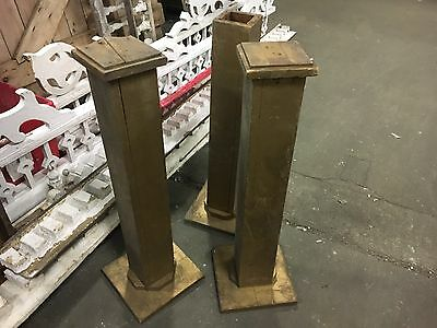 "c1900 Rochester NY theatre pedestals 30.5"" h x 9.5"" sq wooden - gold paint"