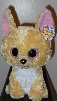 "CT* Ty Beanie Boos ~ NACHO the 10-11"" Medium Size Chihuahua Dog with CREASED TAG"