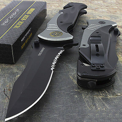 "10.5"" SHERIFF LARGE SPRING ASSISTED TACTICAL FOLDING POCKET KNIFE Blade Open"