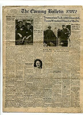 Vintage Newspaper WW2 Overseas Edition 8 pgs 1945 PHILADELPHIA EVENING BULLETIN
