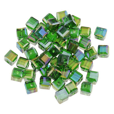 50 x Green Cube Square Faceted Rondelle Crystal Glass Loose Spacer Beads DIY