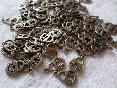 100 X Bronze Tone Pendants Padlock Charms For Craft Or Jewellery Making