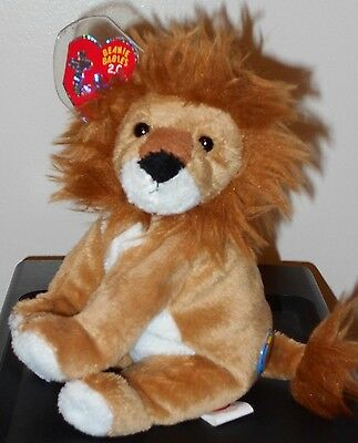 Ty Beanie Baby 2.0 ~ MIDAS the Lion MINT with MINT TAGS ~Missing Play Online TAG