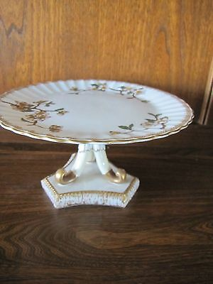 Early Limoges?~Hand painted Florals~23cms Tazza/Cakestand on a Pedestal Stunning