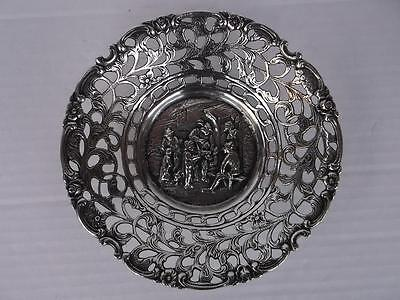 575 / Early 20Th Century Dutch Heavy Silver Plated Dish With Pierced Work Design