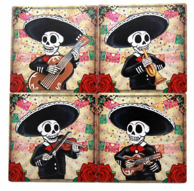 Day Of The Dead Skeleton Mariachi Band Coaster Set of Four Ceramic Corked Tiles