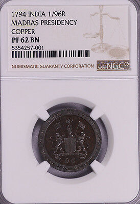 Ngc-Pf62Bn 1794 India Madras Presidency 1/96R