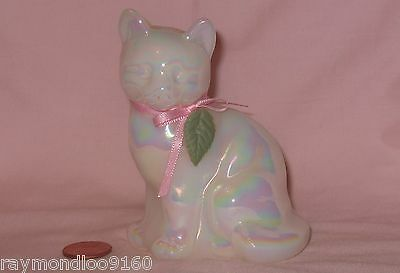 Iridescent/Opalescent Pearl Finished Resin Cat With Pink Ribbon & Leaf Collar; F
