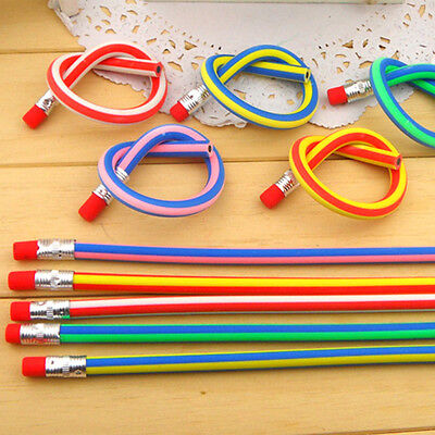 Creative Design Pen Funny Pencil Bendy Flexible Soft For Kids With Eraser Gift