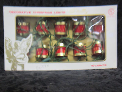 "10 Decorative Christmas Lights Shaped Like Drums 10"" Spacing Straight Line Light"