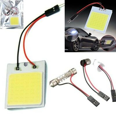New White 48 SMD COB LED T10 4W 12V Car Interior Panel Light Dome Lamp Bulb@