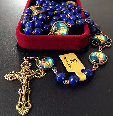 Vintage Lapis lazuli Beads Handmade 5 DECADE Rosary CATHOLIC NECKLACE Cross BOX
