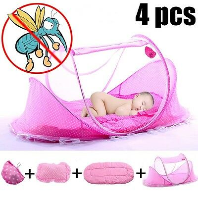 4 Pcs Baby Mosquito Net Cotton Newborn Sleep Bed Pillow Tent Foldable Portable