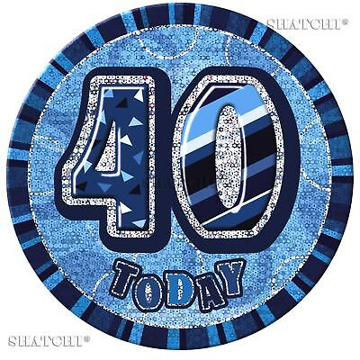 40th Happy Birthday Badge Glitz Blue  Party Decorations Unisex Party Supply