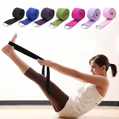 Sport Yoga Stretch Strap D-Ring Belts Gym Waist Leg Fitness Training Adjustable
