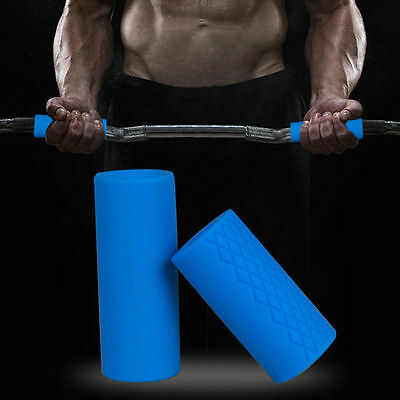 """2""""Thick Gym Non-slip Silicone Dumbbell Barbell Handle Grip Squat Shoulders Barbe"""