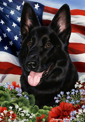 Large Indoor/Outdoor Patriotic I Flag - Black German Shepherd 16091