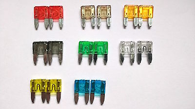 16 piece Car van mixed various mini blade fuses 2 5 7.5 10 15 20 25 30 amp