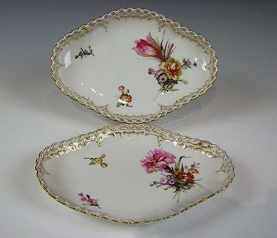 Antique KPM Porcelain open rim Hand Painted Floral Dishes Scepter and Orb Mark