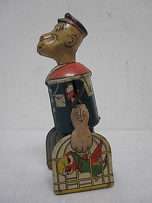 Antique Marx Wind Up Popeye & Parrots Tin Litho Walker Toy