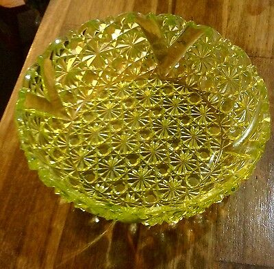 AMERICAN BRILLIANT CUT GLASS SHALLOW BOWl YELLOW
