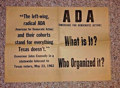 Vintage Political Campaign ad ADA AMERICANS FOR DEMOCRATIC ACTION 1964 Humphrey