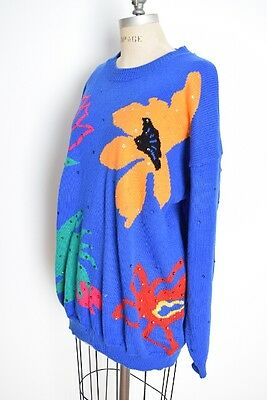vintage 80s sweater blue abstract floral print sequin jumper top shirt XL