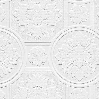 Paintable Heavy Texture Large Ornate Medallions Tile Wallpaper 48930