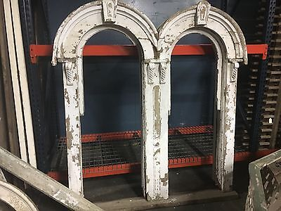 """c1880 double arched Victorian gingerbread window frame 77"""" h x 6' w x 13"""" deep"""