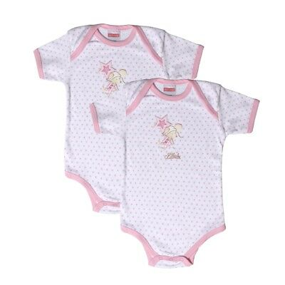 2 pieces short sleeved baby body sz. 62-92 Steinbeck, Pink/White Lilleb