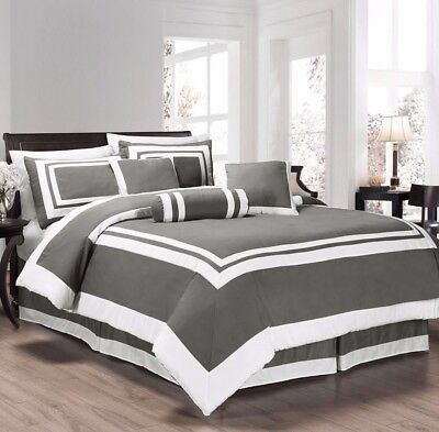 Chezmoi Collection 7pc Gray White Block Hotel Style Comforter Set, Full