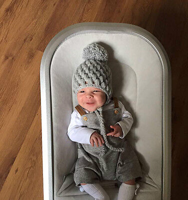 Baby Boys Pompom Hat Handmade Crochet Grey Shower / gift / Photo NB or 0-3 sizes