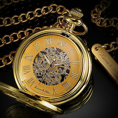 KS Mechanical Skeleton Pocket Watch Steampunk Antique Style Stainless Steel Gold