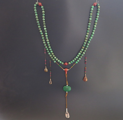 Ancient Chinese Jadeite jade Bead Mandarin Court Necklace long 43 inch