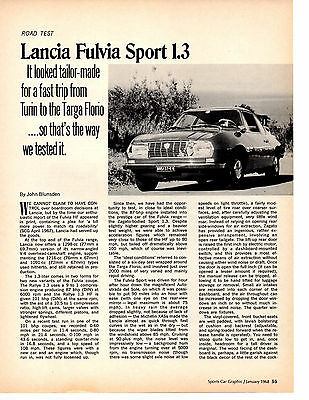 1968 Lancia Fuliva Sport 1.3  ~  Original 4-Page Road Test / Article / Ad