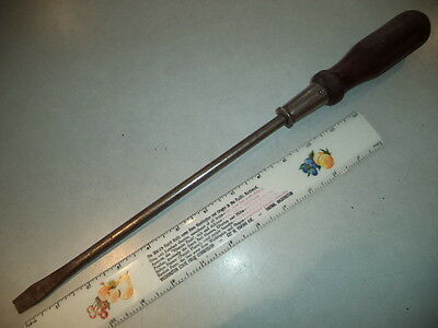 "Vintage 7/16"" Flat Tip Screwdriver-USA-Wood Handle-16"" Long, w/Striking Cap"