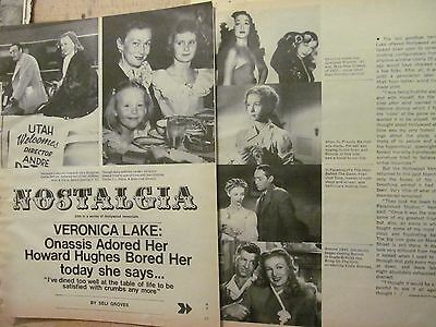 Veronica Lake, Six Page Vintage Clipping