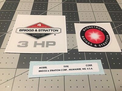 Briggs & Stratton 3-hp 1981-1986 Shroud Labels Decals set of 3; Magnetron