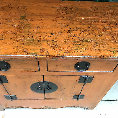 Rare 1800's Orange lacquer painted Chinese Asian Antique Altar Cabinet 19th Cent