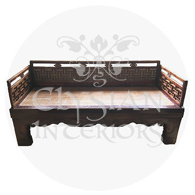 Asian Chinese Antique 1800's elm wood carved rattan daybed / table Qing Dynasty