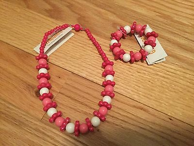 New Gymboree Island Lily Line Pink and White Flower Bead Necklace & Bracelet NWT