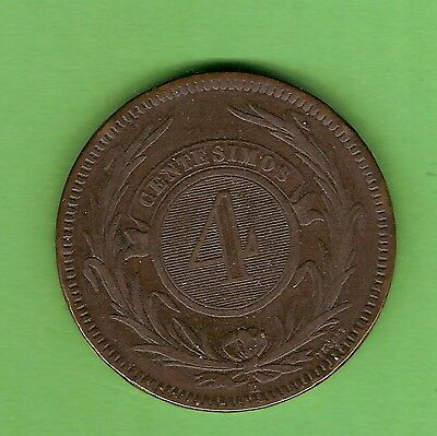 "#c19. 1869 4 Centesimos  Uruguay Bronze Coin, ""h"" Birmingham Mint Mark"