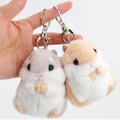 Cartoon Soft Plush Hamster Toy Doll Key Chain Keyring Stuffed Mouse Toy Bag