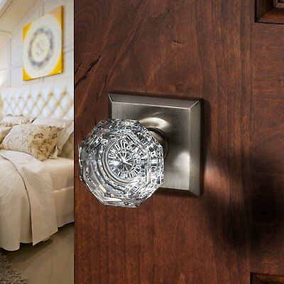 Baldwin Crystal Single Dummy Door Knob with Traditional Square Rose