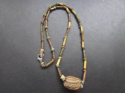 NILE  Ancient Egyptian Mosaic Bead Amulet Mummy Bead Necklace ca 300 BC