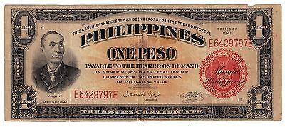 1941 (ONE PESO ) (SILVER CERTIFICATE) RED SEAL  (PHILIPPINES- US)-wartime-