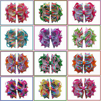 "12 BLESSING Happy Girl Hair Accessories Rainbow 4.5"" B- Blossom Bow Clip"