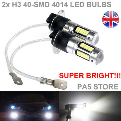 2x H3 40-SMD 4014 LED Bulbs XENON White 6000K -Car Fog Light Lamp 12V Quality UK