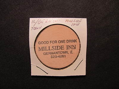 Germantown, Illinois Wooden Nickel token - Millside Inn Wooden Nickel Drink Coin