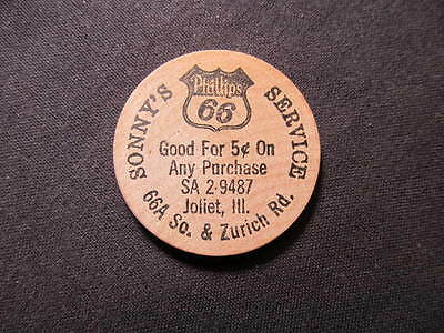 Joliet, Illinois Wooden Nickel token - Sonny's Phillips 66 Service Wooden Coin